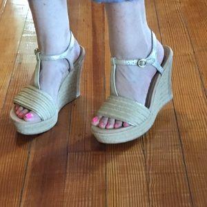 UGG T-Strap Wedge Sandals Gold Leather Espadrille